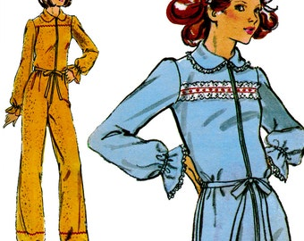 Adult Footie Pajamas! Vintage 1970s Butterick Sewing Pattern 4408, Misses' Pajamas, Size 10, Uncut with Factory Folds