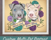 Multiple Pet portrait 8x10 print custom dog or cat portrait art print stylized tattoo style illustration with flowers in custom color scheme