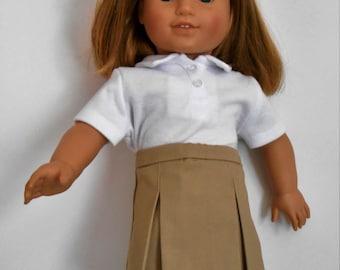 "Khaki school uniform skirt with white polo shirt fits 18"" dolls like American Girl"