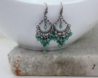 Green, Blue Sterling Silver Chandelier Earrings, Wire Wrapped, Faceted, Sterling Silver Earrings