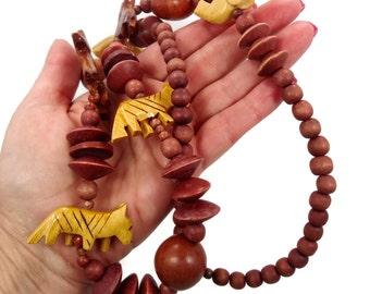 Animal Necklace, Vintage Necklace, Carved Wood, Elephant Giraffe, Tiger, Wooden Beads, Big Statement, Boho Bohemian, Ethnic Tribal, Chunky