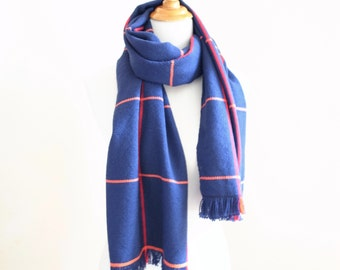 """Big Merino Scarf Navy simple check with Orange and Red 18.5"""" x 72"""""""