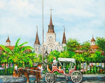 St Louis Cathedral and Jackson Square Art, New Orleans  French Quarter, Horse and Buggy Carriage on the Square - 'Jackson Square Carriage'