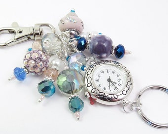 Bold Whimsical Pink, Purple and Blue Crystal Glass Cluster Beaded Key Chain, Purse Embellishment, Zipper Pull w/wo Watch Face