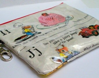 Richard Scarry childrens book pages Upcycled into a keyring coin purse