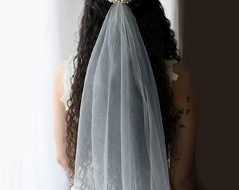 wedding veil, finger tip length veil, bridal veil, pearl veil, veil, custom veil, finger tip veil, simple veil, veil,