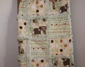 Baby Boy Rag Quilt Monkeys Stripes Circles Green Cream Brown White Nursery Crib Bedding