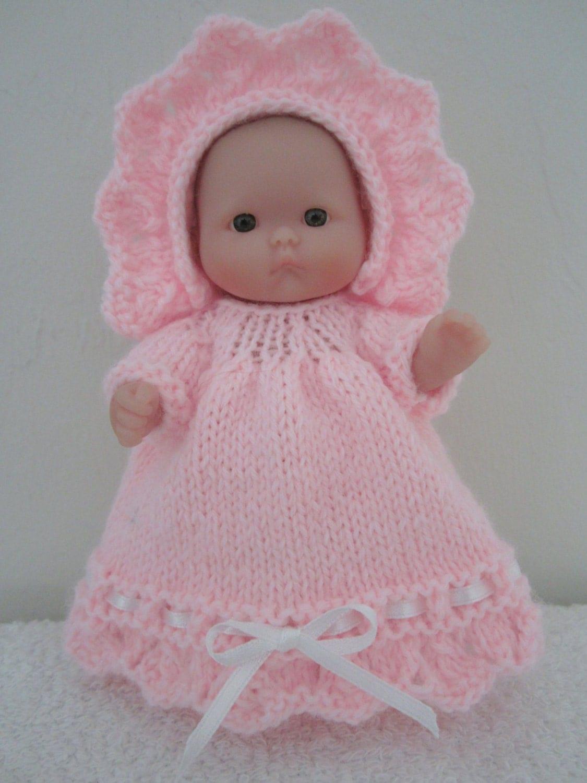 Berenguer Baby Doll Knitting Pattern Frill Dress and Bonnet