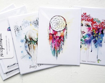 Single greeting card - choose from 6 designs - illustrations by Holly Sharpe