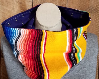 Serape Cowl in Yellow with Cotton Anchor Lining Bohemian Fashion Fall Fashion Boho Scarf Mexican Blanket Scarf Striped Cowl Colorful Scarf