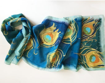 Golden Peacock Feathers Scarf/ Hand painted silk scarf/ Blue ocher scarf art deco style/ Unique handmade scarf/ Luxury gift mom KM17
