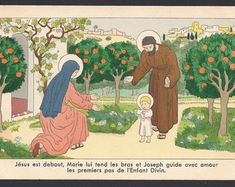 """Antique """"Jesus is standing with Joseph Mary her arms lovingly guide the first steps of the Divine Child"""" Old Beautiful French  Post Card"""