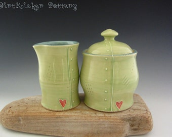 Pottery Cream and Sugar Set in Lime Green and Turquoise - Lidded Jar - Small Pitcher - by DirtKicker Pottery