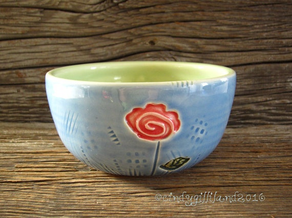 Rose Bowl in Crystal Blue and Lime - Pottery Bowl - by DirtKicker Pottery