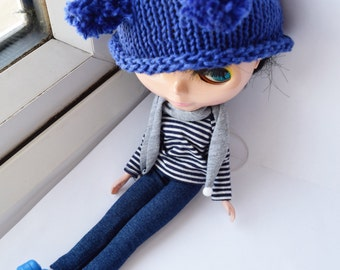Royal blue handknitted cotton hat for Blythe doll