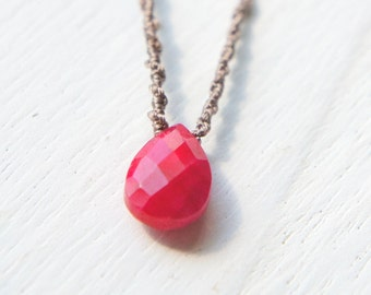 Ruby Drop Necklace, Red Teardrop Pendant, Simple Necklacce, Gift fo her, July Birthstone Jewelry