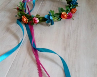 Tropical Destination Wedding Flowers Bridal party Flower crown, set of 4 silk corsages boutonniere flower girl hair wreath Orange Hot Pink