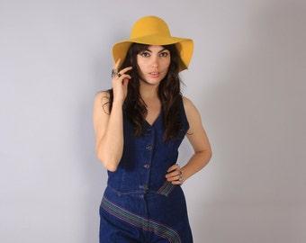 Vintage 70s HAT / 1970s FLOPPY Wide Brim Bohemian Golden Yellow Felt Hat