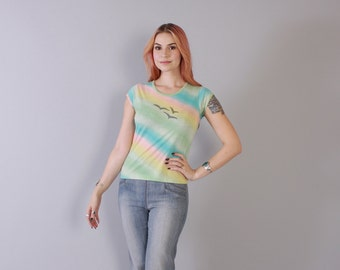 Vintage 70s Fitted T-SHIRT / 1970s Soft Thin Pastel Striped SEAGULL Print Tee Tshirt