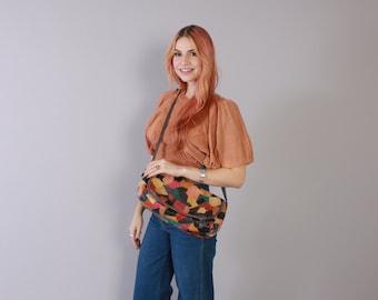 Vintage 70s Boho PURSE / 1970s Colorful Patchwork Leather Custom Made Hippie Shoulder Bag