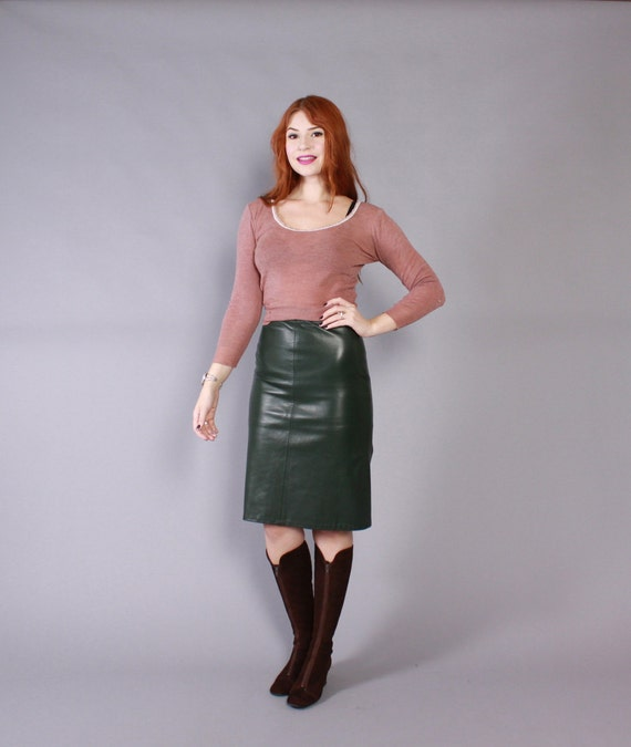 vintage 80s leather skirt 1980s buttery soft forest green