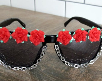 Rocking Red Roses & Chains Sunglasses - Silver Chain with Black Wayfarer Style Shades Sunnies Embellished