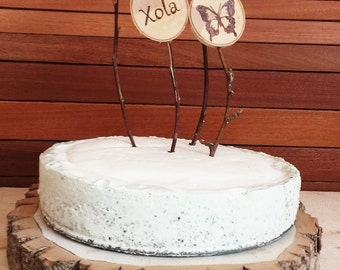 "SALE!!!! Tree Slice Centerpiece-Rustic Wood Cake Platter-Woodland Wedding Decor-14"" Wood Cake Stand, Rustic Centrepieces"