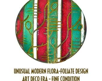 Button--Stylin Art Deco Champleve Enamel Flora-foliate--Very Cool Design