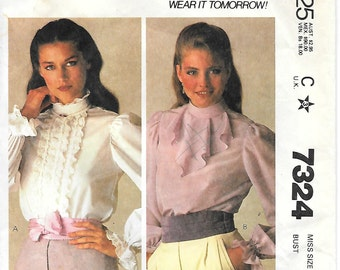 McCalls 7324 1980s Ruffled Blouse Sewing Pattern Size 16 Bust 38 Long Sleeve Standing Collar Jabot