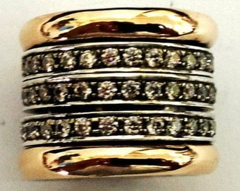 Spinner ring silver gold cz zircons