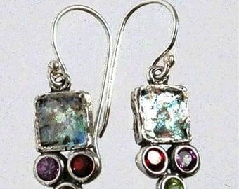 Roman Glass Earrings, Sterling Silver Earrings, sterling silver jewelry ,  dangling earrings , Israeli roman glass jewelry