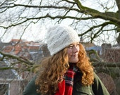 Hand Knit Chunky Warm Wool Winter Women's Hat - Off White - The Nordic Island Beanie