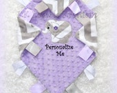 Free personalization, elephant baby girl blanket, tags or ruffle edging, unique and elegant, lovy lovey lovie, gray chevron purple minky