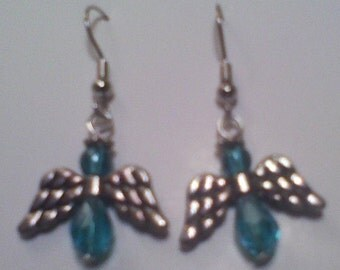 Angle Earrings Turquoise  glass Crystal Beads and Metal wings and halo Hand made in USA