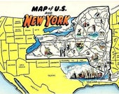 Vintage New York Postcard - A Pictorial Map of Scenic New York (Unused)