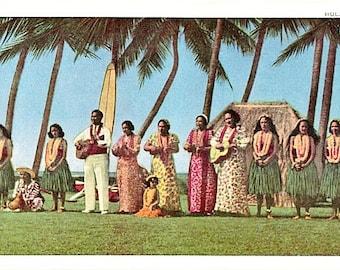 Vintage Hawaii Postcard - Hula Maids and Musicians (Unused)