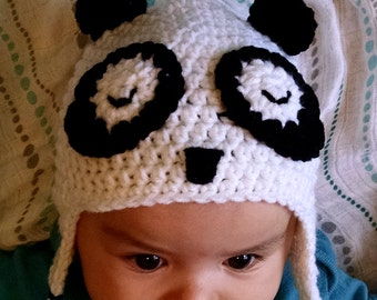 Baby Panda Hat, Crochet Baby Panda Hat, Baby Animal Hat