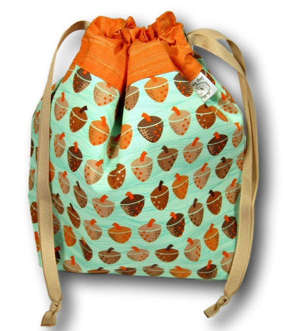 """Acorns - """"One Skein"""" Project Bag for Knitting, Crochet, Cross Stitch, or Embroidery"""