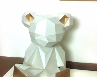 Bigger Better Teddy Bear 3d papercraft. You get PDF digital file with this improved template and instruction for DIY minimalist Teddy Bear.