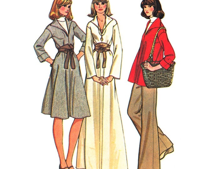 1970s Caftan Dress or Top & Pants Pattern McCalls 4598 Hippie Tunic Top Trousers Bust 36 Vintage