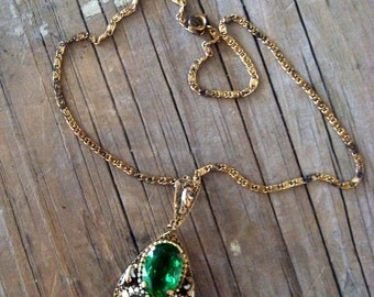 Vintage 1950s Made in Germany Bright Green Stones Enamel Floral Gold Tone Necklace