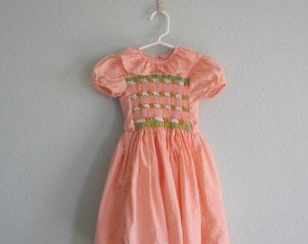 Gorgeous Peach Cotton Smocked Toddler Dress - Vintage 60s Peach Baby Dress - Vintage 1960s Girls Dress 2T