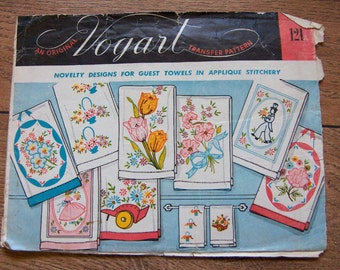 Vintage 50s 60s Vogart Embroidery Transfers 121 Flowers man woman unused