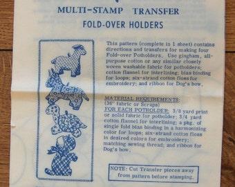 vintage mail order transfer pattern 861 fold over animal potholders dog horse turtle lamb uncut