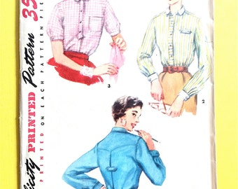 1950s Blouse Simplicity 4813 MISSES' SHIRT Center back pleat, front buttoned closing  Vintage Sewing Pattern Bust 32