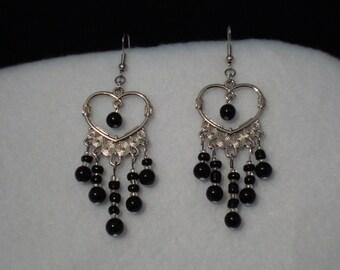 heart shaped dangle earrings