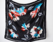 BLACK 1970s Bebe London Floral Indian Silk Scarf