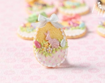 "Easter Egg Shortbread Sablé ""Basket"" Cookie (D) - Miniature Food in 12th Scale for Dollhouse"