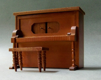 Miniature Vintage Player Piano Music Box ~ The Entertainer ~ Wooden Music Box