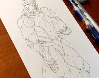Strange Explorer - 4.75x11in Original Pencil Drawing, Artwork, Graphite, Sketchbook, Quick Sketch, Mech Suit, Astronaut, Alien, Concept Art